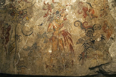 Depiction of a Mayan King in the San Bartolo Murals. Image via mesoweb.com