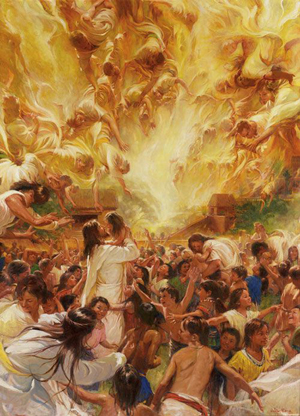 Angels minister to the Nephite children. Painting by Walter Rane.