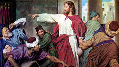 Jesus commands those who defile his temple and those covenants to depart. Jesus cleansing the temple, artist unknown.