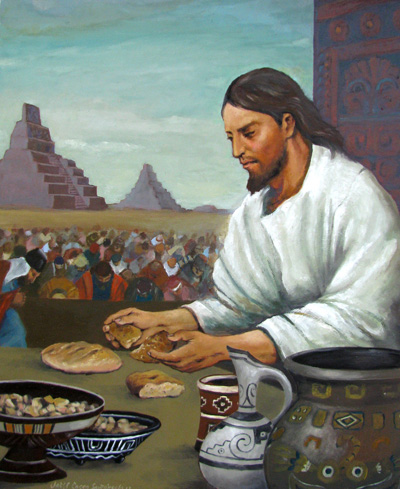 When Christ was with the Nephites, he was their daily bread. Jesus partiendo el pan by Jorge Cocco