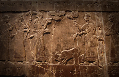 Possible depiction of the Israelite King Jehu performing Proskynesis before King Shalmaneser III of Assyria on the Black Obelisk of Shalmaneser III. Image via Wikimedia commons.