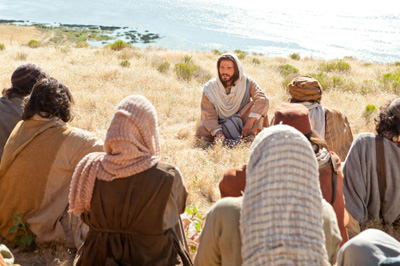 Jesus giving the Sermon on the Mount. Image via lds.org