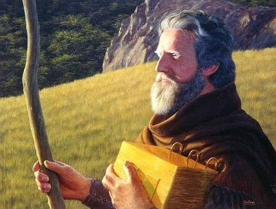 Moroni, son of Mormon, wanders alone. Artist Unknown.