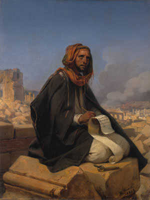 Jeremiah on the ruins of Jerusalem by Horace Vernet. Image via Wikimedia Commons