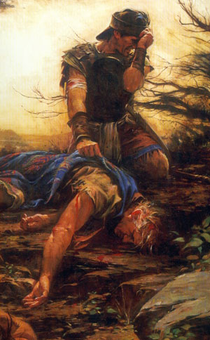 Moroni Mourns the Death of His Father Mormon by Walter Rane