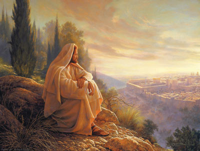 Jesus Christ lamented over the city of Jerusalem. Painting by Greg Olsen.
