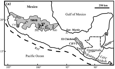 Volcano locations (triangles) in southern Mexico and Guatemala. Image from Jerry Grover's Geology of the Book of Mormon.