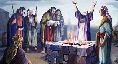 Lehi dando gracias en altar by Jorge Cocco