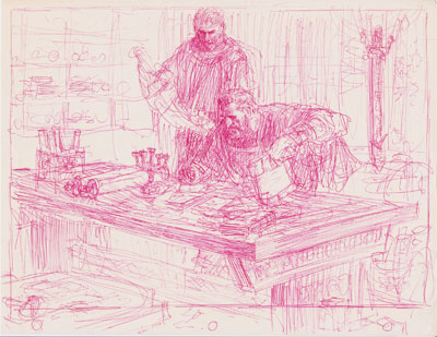 Mormon and Moroni Compiling the Record. Sketch by Arnold Friberg.