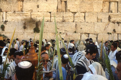 The festival of Sukkot at the Western Wall in Jerusalem
