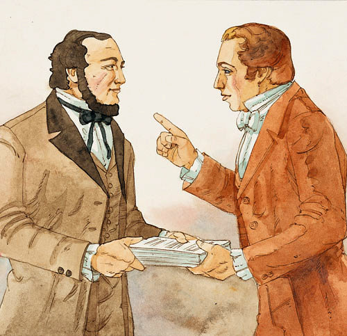 Joseph Smith giving Martin Harris the 116 pages of the Book of Mormon translation. Image via lds.org.