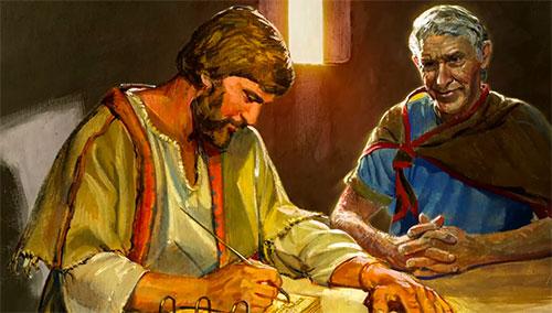 Jacob Writing on Plates. Image via lds.org