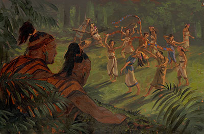 Amulon, leader of King Noah's priests, looks on the daughters of the Lamanites. painting by James Fullmer.