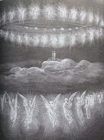 Angels in the heavenly court singing praises to God. Illustration by Gustave Dore.