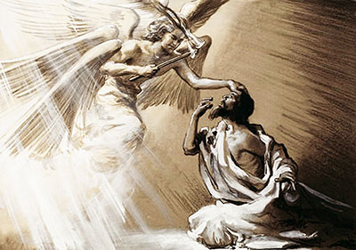 The seraph purifies Isaiah with hot coal from the altar.
