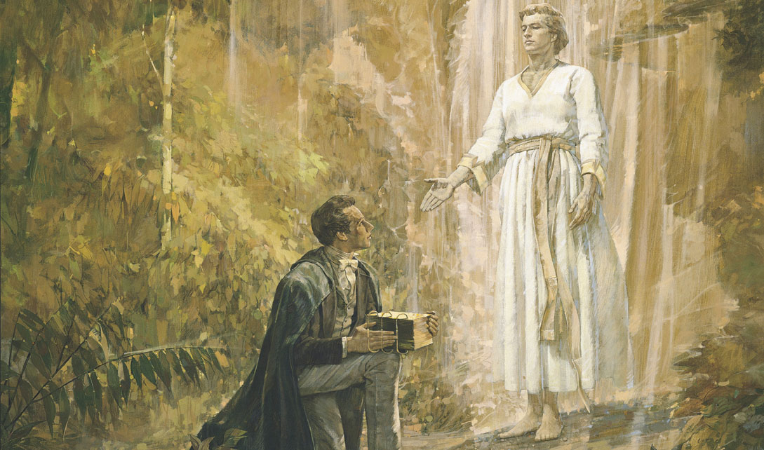 Joseph Smith received the gold plates as prophesied by Nephi. Image via lds.org