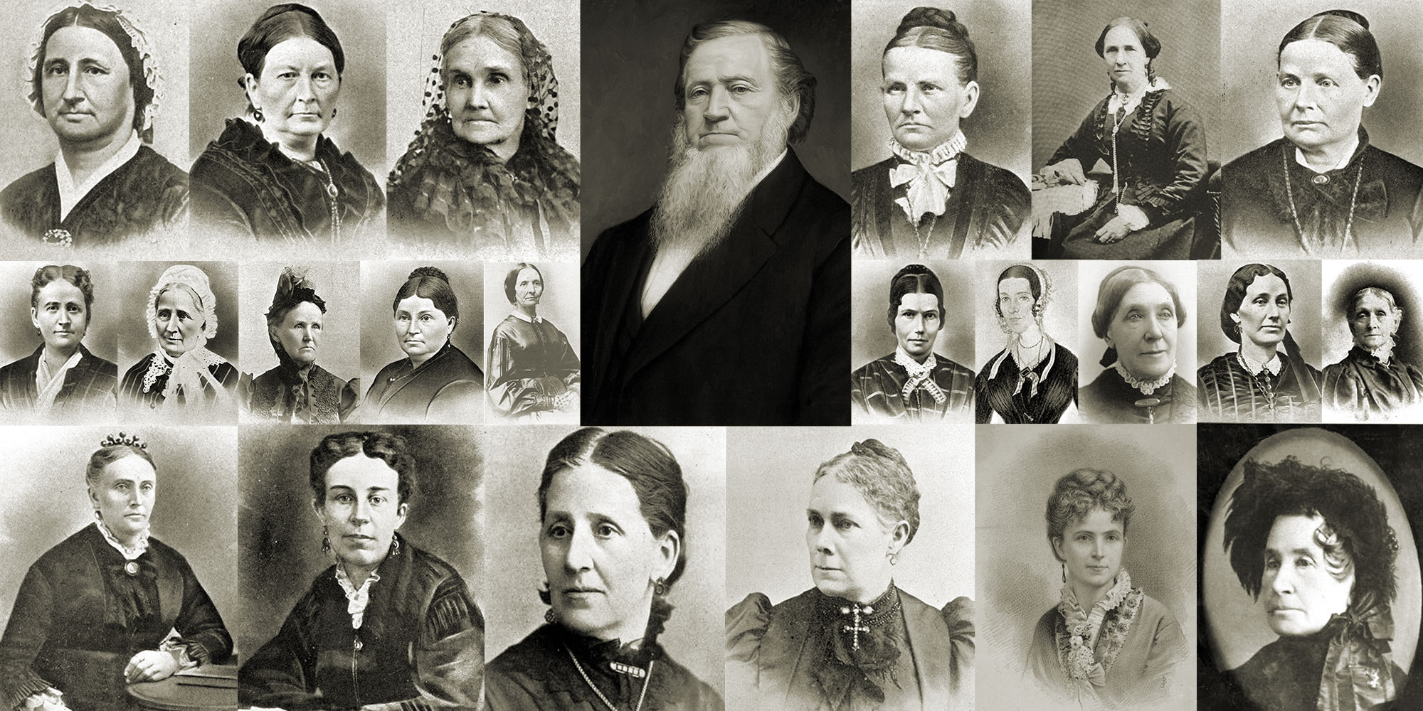 Brigham Young with Plural Wives. Image via Book of Mormon Central.