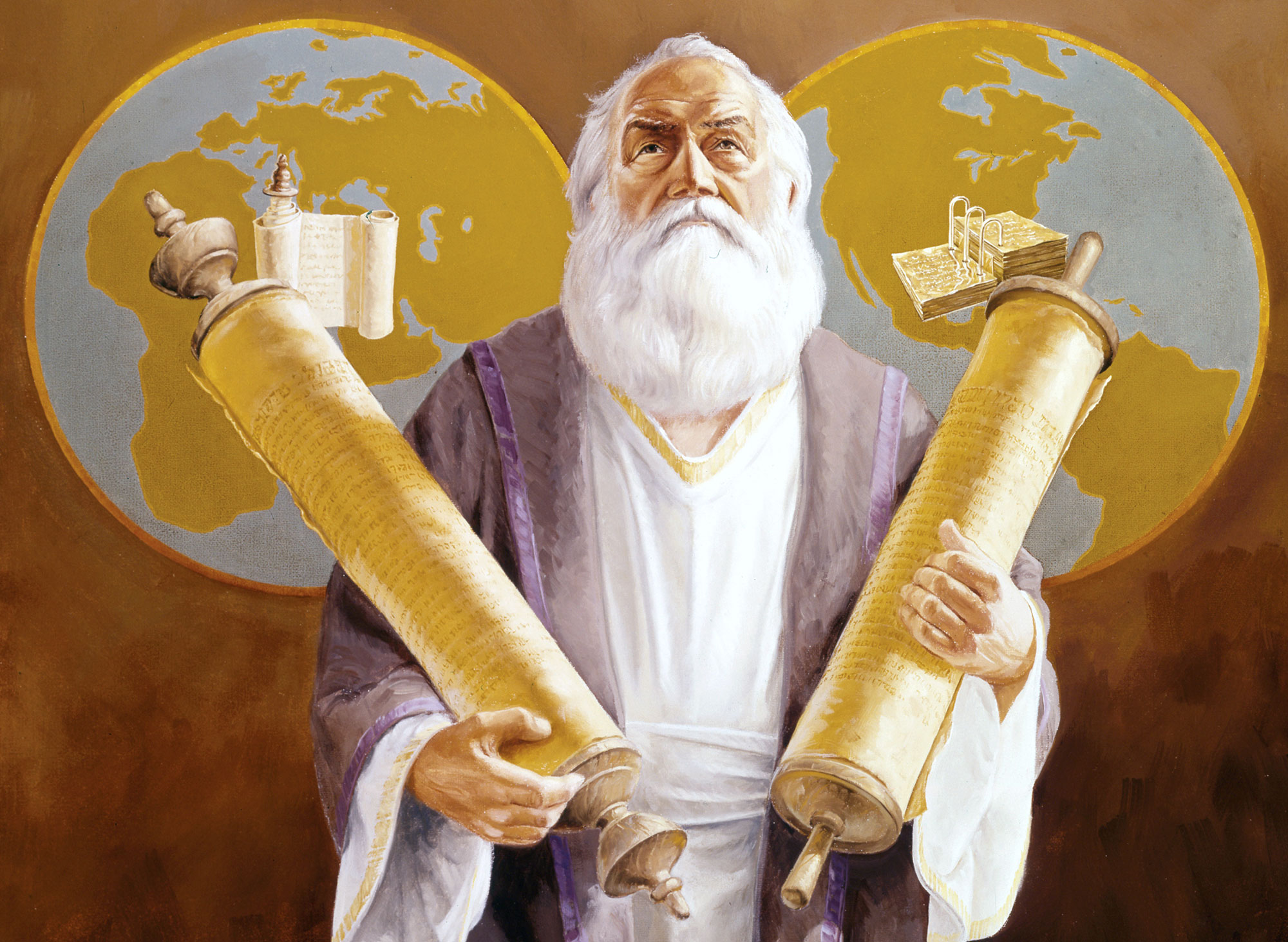 The Prophet Ezekiel holding the records of two nations. Artwork by Lyle Beddes, via LDS Seminary Files.