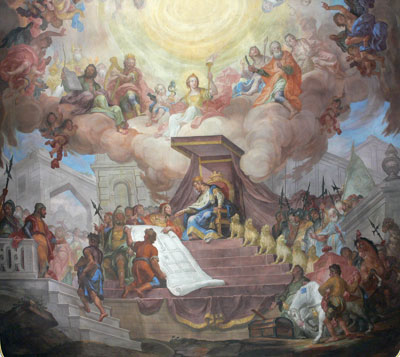 From the Plan of Salvation we learn about how after our journey in mortality we can rise to kingship in God's heavenly courts. Solomon at his Throne by Andreas Brugger.