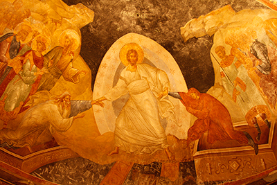 Through the resurrection and atonement, Christ was able to break the bands of death and open up the gates of hell. Anastasis at the Chora Church in Istanbul, ca 1315. Image via Wikimedia Commons.