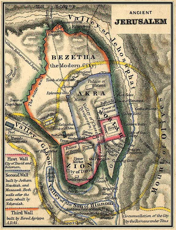 The Valley of Hinnom, or Gehenna, is located to the south of ancient Jerusalem, as depicted on the map.