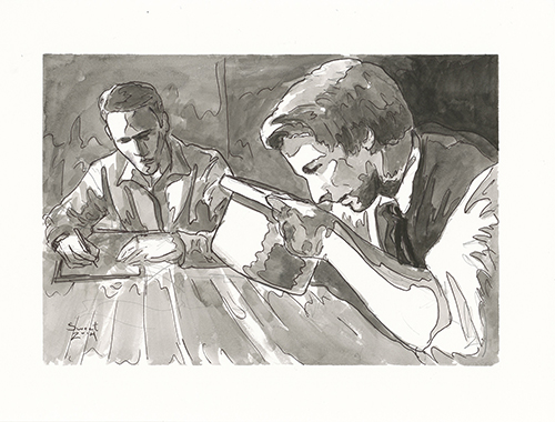 Translating with Oliver. Watercolor by Anthony Sweat.