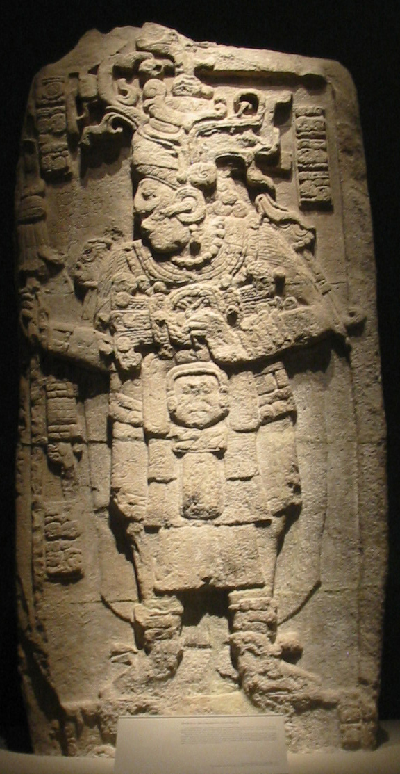 Stela 51 from Calakmul, dating to 731, is the best preserved monument from the city. It depicts the king YuknoomTook' K'awil. Image via Wikimedia Commons.