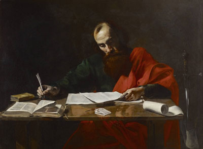 Paul Writing His Epistles, painting attributed to Valentin de Boulogne. Image via Wikipedia.
