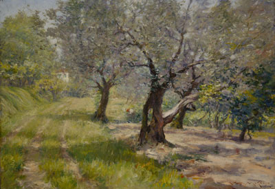 The Olive Grove by William Merrit Chase, 1910. Image via Wikimedia Commons.