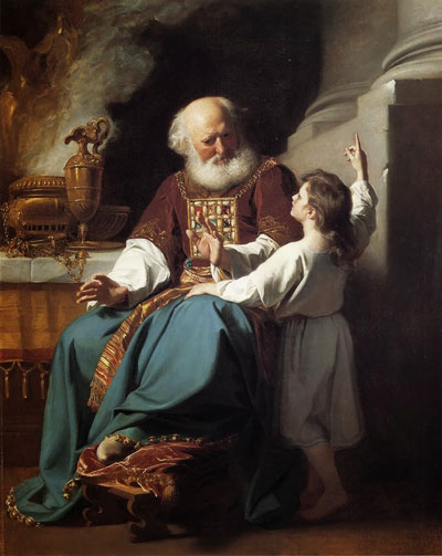 The Israelite high priest wore a breastplate and ephod, wherein the Urim and Thummim were stored for divining the will of God. Samuel Learning From Eli, John Singleton Copley, 1780.