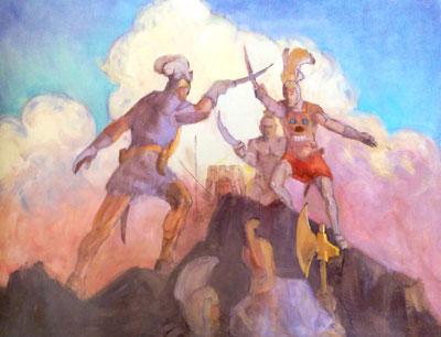 Alma Overcomes Amlici by Minerva Teichert.