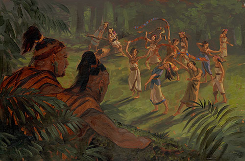 Amulon and the Lamanite Daughters. Painting by James Fullmer.
