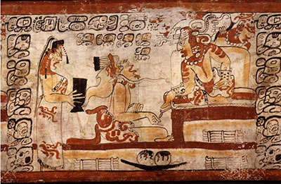 The system of Nephite Judges may be similar to the hegemony of Mesoamerican rulers. Maya ruler seated with scribe and maiden. Peten Middle Classic. Image via authenticmaya.com