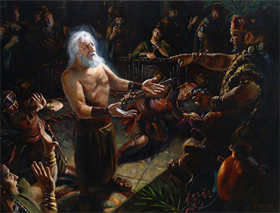 Abinadi Testifying Before King Noah by Jeremy Winborg.