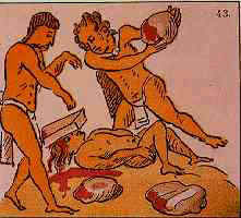 An Aztec adulterer being stoned to death; Florentine Codex. Image via Wikimedia Commons.