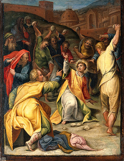 Nehor was likely executed by stoning, complying with biblical law. The Stoning of St. Stephen. Oil painting attributed to Orazio Sammacchini. Image via Wikimedia Commons.