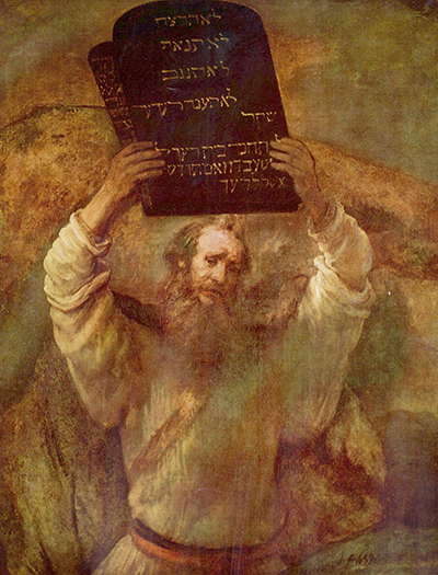 Moses with the Ten Commandments by Rembrandt. Image via Wikimedia Commons.