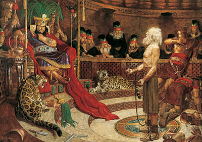 Abinadi Appearing Before King Noah and his priests by Arnold Friberg.