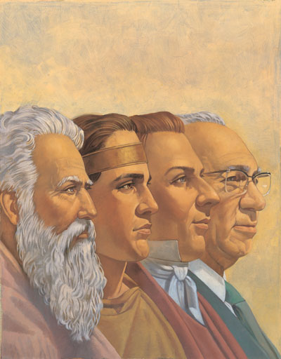Four Prophets by Robert T. Barrett. Image via lds.org
