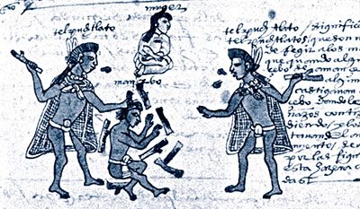 Two men beating a youth with firebrands. Image from Codex Mendoza.