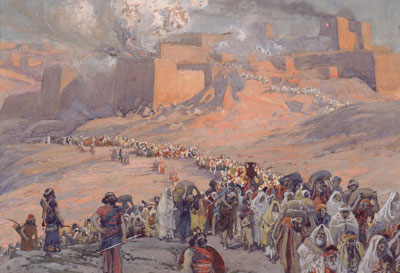 Depiction of the destruction of Jerusalem by the Babylonians. Flight of the Prisoners by James Jacques Joseph Tissot.