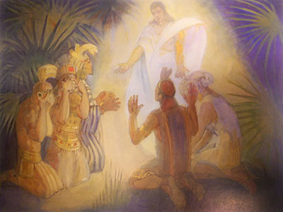 An Angel Appears to Alma and the Sons of Mosiah. Painting by Minerva Teichert.