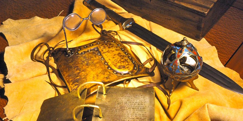 A 21st century artistic representation of the Golden Plates, Urim and Thummim, Sword of Laban, and Liahona. Image via Wikipedia.