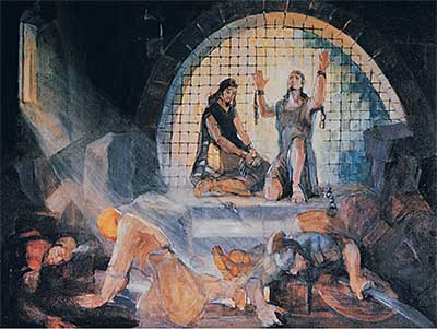 Alma and Amulek in prison. Painting by Minerva Teichert.