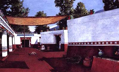 An artist's reconstruction of an Aztec house compound, which would have housed both immediate and extended family. While this reconstruction post dates Book of Mormon times, it may help the reader visualize what Amulek's household may have looked like. Image via John L. Sorenson's Images of Ancient America, p. 63.