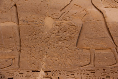 Medinet Habu Temple, Piles of Hands, photo by Steven C. Price, Image via Wikimedia Commons.