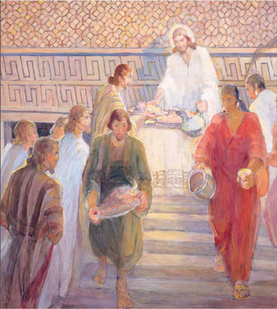 Jesus Administering the Sacrament at Bountiful. Painting by Minerva Teichert.