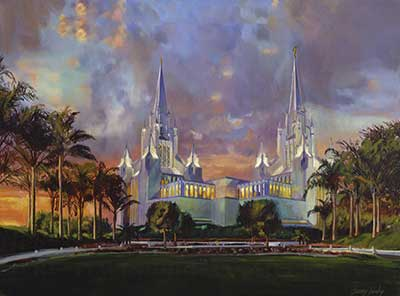 Alma taught about the high priesthood of the order of the Son of God, which is an essential part of temple rituals, ancient and modern. Painting of the San Diego Temple by Jeremy Winborg. See jeremywinborg.com.