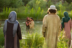 John the Baptist baptizing Jesus Christ. Image via lds.org.