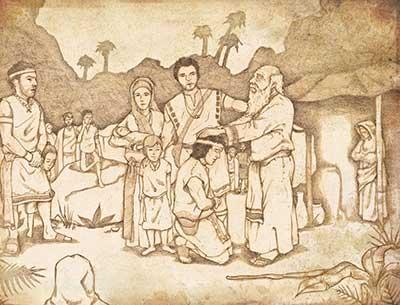 Lehi Blessing his Family by Jody Livingston
